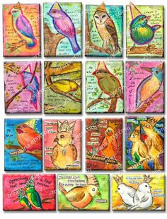 QUOTE BIRDS  INSTANT Digital download Collage Sheet for by Zorana, $5.00