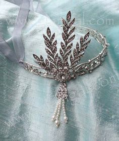Great Gatsby Headband with Tall Rhinestone Leaves for weddings - The Great Gatsby
