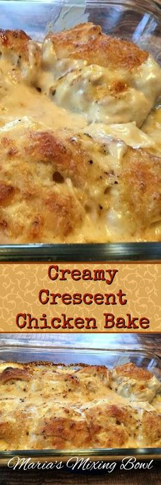 Creamy Crescent Chicken Bake- An easy and delicious weeknight meal the whole family will love! Biscuits can definitely be a replacement. Double the cream of chicken Turkey Recipes, Chicken Recipes, Chicken Ideas, Recipe Chicken, Yum Yum Chicken, Crescent Chicken, Crescent Dough, Timmy Time, Great Recipes