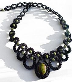 cubic right angle weave scroll necklace