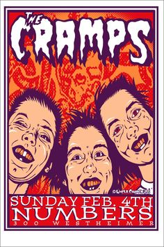 Music Poster The Cramps 1995 Silkscreen by MoviePostersAndMore Pop Posters, Band Posters, Concert Posters, Music Posters, Music Flyer, The Cramps, Local Bands, Poster Pictures, Psychobilly