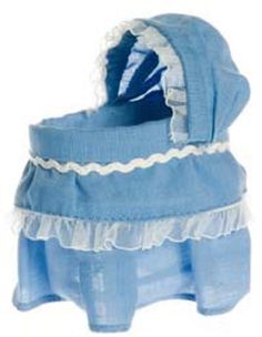Dollhouse Miniature Baby Bassinet Blue with White Trim 1:12 Scale New in Package #TownSquareMiniatures