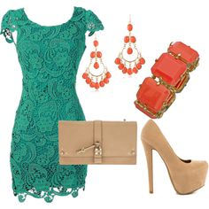 Turquoise Dress and Nude Heels (like the nude heels but that platform is too high for me)