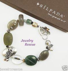Silpada-Green-Gemstone-Bracelet-Quartzite-Jasper-925-Sterling-Silver-B2221-Q