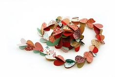 Banner  heart garland--use heart punch, layer, sew, shape/fold up.