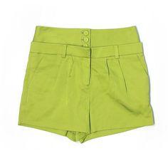 Magaschoni Dressy Shorts ($47) ❤ liked on Polyvore featuring shorts, green, magaschoni, silk shorts, dressy shorts and green shorts