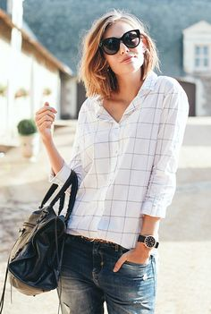 Plaid shirt + boyfriend jeans + cat-eye sunglasses