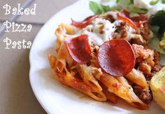 Pizza Pasta Bake with veggies and turkey pepperoni.  Recipe makes 2- 1 to eat now and 1 to freeze.