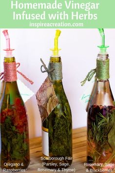 homemade vinegar infused with herbs 2 shows 3 wine bottles with herbs suspended in the white wine vinegar Flavored Oils, Infused Oils, Easy Lemon Curd, Wine Bottle Crafts, Wine Bottles, Glass Bottle, White Wine Vinegar, Easy Salad Recipes, Garden Crafts