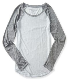 Sheer Long Sleeve Heathered Raglan Tee - Aeropostale