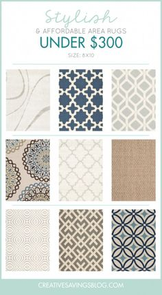I have been searching for the perfect 8x10 area rug and hate how pricey they are! I can't believe all of these cost less than $300. Any of these would look awesome in our living room, and BONUS, you get an extra $10 off if you shop through her link in the blog post!