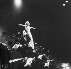 Actress Marilyn Monroe performing hot song & dance number in the movie Gentlemen Prefer Blondes. Description from gettyimages.com.au. I searched for this on bing.com/images