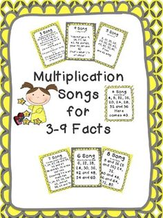 Multiplication Songs for 3-9 Facts