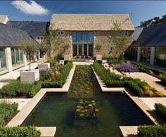 Cotswold Estates and Gardens Ltd: Courtyard garden, Cirencester, Gloucestershire. - Cotswold Estates and Gardens Ltd: Courtyard garden, Cirencester, Gloucestershire 1 of 10 - Barn Conversion Exterior, Barn Conversions, Garden Waterfall, Barn Renovation, Garden Design, House Design, Modern Barn, Modern Pond, Courtyard House