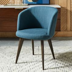Abrazo Dining Chair, Twisted Slub, Teal, Dark Mineral at West Elm - Dining Chairs - Dining Room Furniture West Elm Dining Chairs, Wooden Dining Chairs, Outdoor Dining Chair Cushions, Mid Century Dining Chairs, Upholstered Dining Chairs, Metal Chairs, Lounge Chairs, Kitchen Chairs, Office Chairs