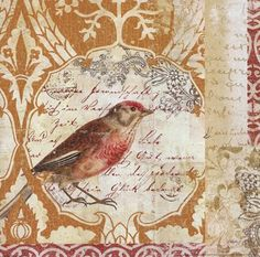 Bird Collage Study I text w/ bird & textures.