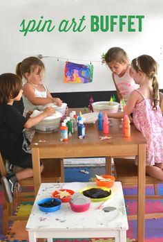 Make a Spin Art Buffet Bar.  This is such an awesome art project for kids!