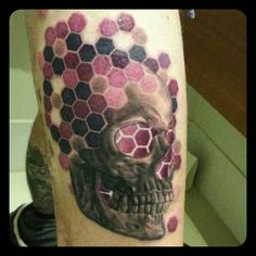 Black and grey realistic skull with purple honeycomb flourishing tattoo by Merrick Ames. [Instagram - choc666 www.facebook.com/wa,ink.tattoo.shop]