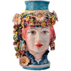 Sicily & More Home Flower Queen Ceramic Moor's Head (1,445 CAD) ❤ liked on Polyvore featuring home, home decor, multicolor, traditional home decor, ceramic home decor, colorful home decor and handmade home decor