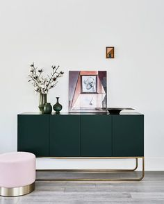 How to Decorate And Design A New Home 2019 deep forest green paired with the palest pink stool and gold metallic accents. < The post How to Decorate And Design A New Home 2019 appeared first on Metal Diy. Interior Design Inspiration, Decor Interior Design, Furniture Design, Interior Decorating, Design Ideas, Interior Ideas, Green Furniture, Furniture Buyers, Luxury Furniture