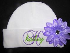 Personalized Baby Beanie Hat with Flower Clip by JoannesEmbroidery, $13.00