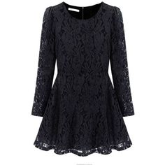 Plus Size Elegant Women Long Sleeve Lace Pleated Dress ($16) ❤ liked on Polyvore featuring dresses, long sleeve dress, print dress, lace sleeve dress, long-sleeve maxi dress and embellished dress