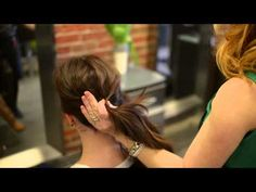 Jill at Grotto shows how to do a low bun using a donut. - YouTube