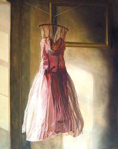 The work of Emma Hesse, including this painting of a dress hanging before an empty frame, inspired the Fall 2013 window displays at BHLDN.