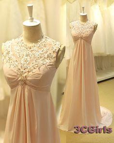 2015 cute pink chiffon high waist long bridesmaid dress, modest prom dress for teens,ball gown from #3c #weddings -> http://www.3cgirls.com/#!product/prd1/4236229371/cute-pink-chiffon-high-waist-long-bridesmaid-dress