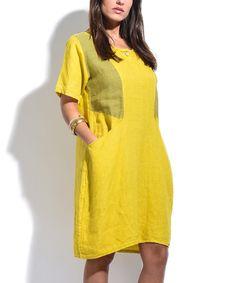 FREE U.S. SHIPPING Mustard Yellow Dress Vintage-Style Dress ...