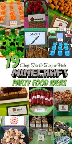 Step by Step instructions on how to host a cheap Minecraft Birthday Party that your Minecrafting Child would LOVE! Step by Step instructions on how to host a cheap Minecraft Birthday Party that your Minecrafting Child would LOVE! Diy Minecraft Birthday Party, Minecraft Party Food, Minecraft Party Decorations, 9th Birthday Parties, Birthday Party Games, Cake Birthday, Parties Decorations, Minecraft Party Activities, Birthday Party Food For Kids