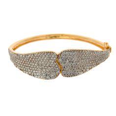 Bracelete Semijoia Cravejado Zircônias Folheado Ouro 18k e Ródio.