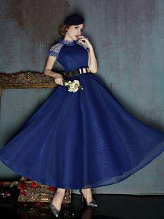 Dark Blue Short Sleeves Modest Ankle Length Evening Prom Formal Dress | X037