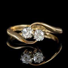This elegant antique Edwardian twist ring is built around twin old European cut Diamonds. Antique Diamond Rings, Antique Engagement Rings, Twist Ring, Free Ring, Perfect Engagement Ring, European Cut Diamonds, Diamond Cuts, Antique Jewelry, Heart Ring