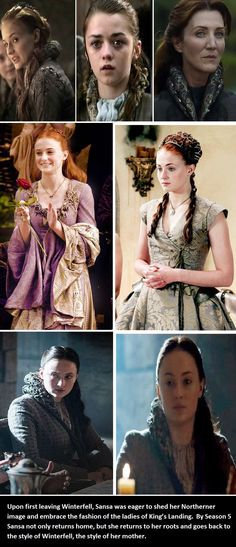 Upon first leaving Winterfell, Sansa was eager to shed her Northerner image and embrace the fashion of the ladies of King's Landing. By Season 5 Sansa not only returns home, but she returns to her roots and goes back to the style of Winterfell, the style of her mother.