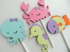 Girl Under The Sea Cupcake Toppers Under The Sea by 2muchpaper, $11.00