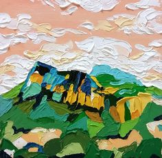 Small, Acrylic Landscape painting of Texas Mountain Scene, featuring impasto and stylized technique; art by Danika Ostrowski