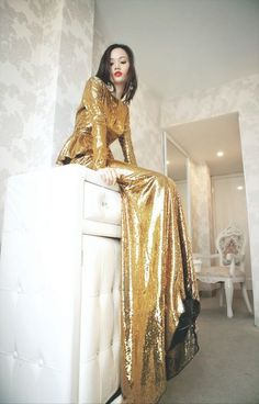 Dressed in gold.
