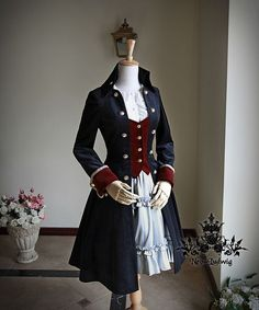 Fanplusfriend Whale Bones Bay Series Pirate Lolita Dandy Unisex False 2pcs Thick Velvet Jacket