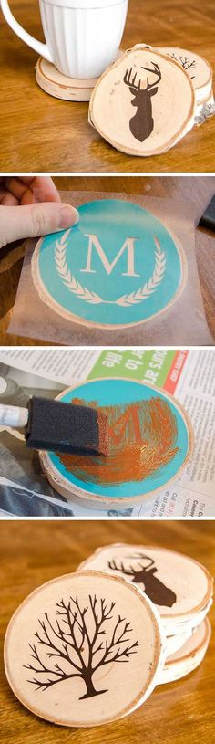 A great gift idea for guys - rustic, hand stenciled DIY painted wood slice coasters! Make them with your Silhouette machine, or purchase a monogram stencil from for guys DIY Painted Wood Slice Coasters Diy Christmas Gifts For Friends, Homemade Christmas Gifts, Xmas Gifts, Craft Gifts, Holiday Crafts, Christmas Décor, Christmas Ideas, Christmas Coasters, Small Gifts For Friends