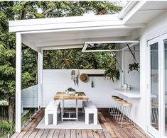 Indoor Outdoor Kitchen, Outdoor Kitchen Design, Outdoor Rooms, Outdoor Dining, Country Kitchen Renovation, Kitchen Window Bar, Kitchen Nook, Diy Kitchen, Kitchen Ideas