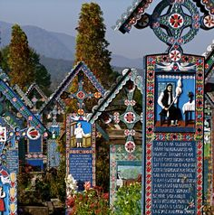 hand carved and painted grave markers in the Merry Cemetery. Look at the first marker to the right - a spinner. Grave Markers, Fascinating Facts, Fairytale Art, Kirchen, Eastern Europe, Dream Vacations, Great Photos, Cemetery, Beautiful World