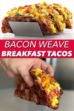 A recipe for Bacon Weave Breakfast Tacos from DudeFoods.com Breakfast Tacos, Savory Breakfast, Breakfast Ideas, Delicious Breakfast Recipes, Yummy Recipes, Yummy Food, Healthy Recipes, Bacon Recipes, Egg Recipes
