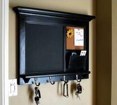 Heirloom Quality Wood Framed Bulletin Board - Chalkboard Keyhook Message Center with Mail Cubby Organizer in White or Black. $165.00, via Etsy.