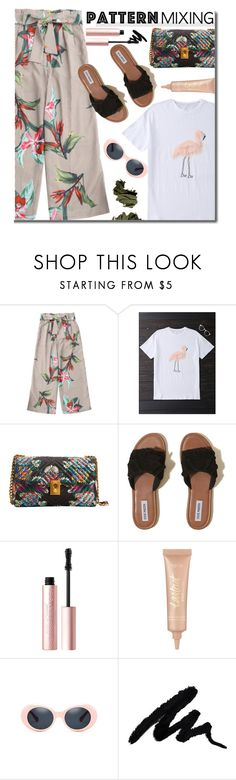 """""""Stay Bold: Pattern Mixing"""" by justkejti ❤ liked on Polyvore featuring MANGO, Hollister Co., Too Faced Cosmetics, tarte, Bobbi Brown Cosmetics, casual, tropical, patternmixing and zaful"""