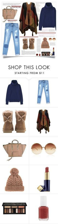 """""""Holiday Style: Cozy Chic"""" by mossoo ❤ liked on Polyvore featuring Uniqlo, Bebe, UGG, CÉLINE, Anja, Linda Farrow, 7II, Viktor & Rolf, Estée Lauder and Kat Von D"""