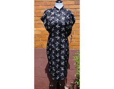Carol Little Dress Vintage 80s Floral, Asian style, silky, boho, bohemian, size 14, Tag still attached! by Have2Shop on Etsy
