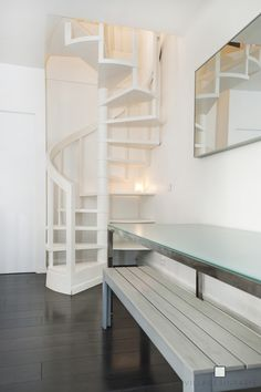 Escalier Colima Atilde Sect On Blanc White Turning Stairs Droomhuis Loft Staircase, Attic Stairs, Basement Stairs, Staircase Design, Spiral Staircases, Small Staircase, White Staircase, Staircase Ideas, Modern Staircase