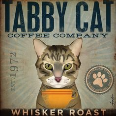 Tabby Cat Coffee Company giclee archival signed artists print 12 x 12. $39.00, via Etsy.
