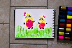 Girl Minions Handprint Art
